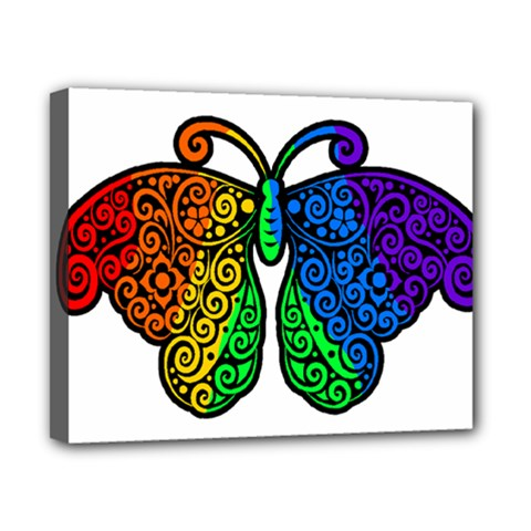 Rainbow Butterfly  Canvas 10  X 8  by Valentinaart