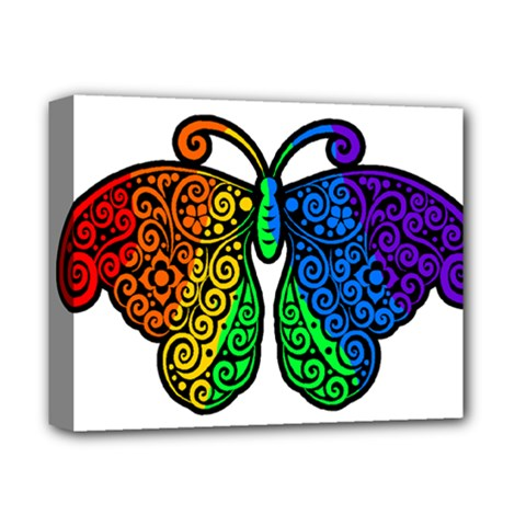 Rainbow Butterfly  Deluxe Canvas 14  X 11  by Valentinaart
