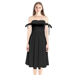 Black Shoulder Tie Bardot Midi Dress by theunrulyartist