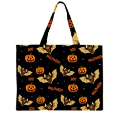 Bat, Pumpkin And Spider Pattern Zipper Large Tote Bag by Valentinaart