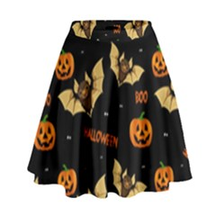 Bat, Pumpkin And Spider Pattern High Waist Skirt by Valentinaart