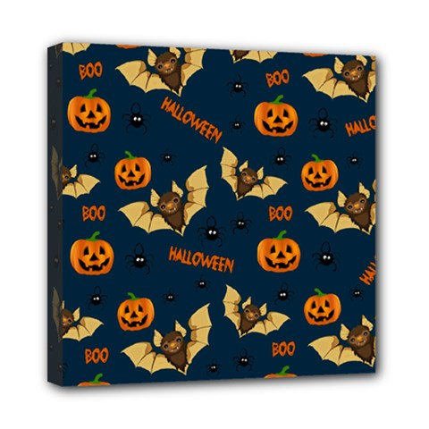 Bat, Pumpkin And Spider Pattern Mini Canvas 8  X 8  by Valentinaart