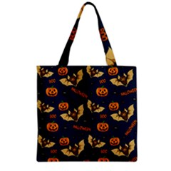Bat, Pumpkin And Spider Pattern Grocery Tote Bag by Valentinaart