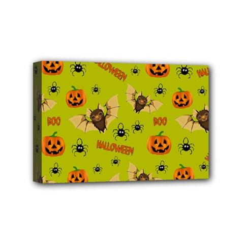 Bat, Pumpkin And Spider Pattern Mini Canvas 6  X 4  by Valentinaart