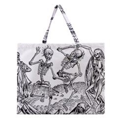 Skeletons   Halloween Zipper Large Tote Bag by Valentinaart