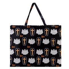 Ghost And Chest Halloween Pattern Zipper Large Tote Bag by Valentinaart