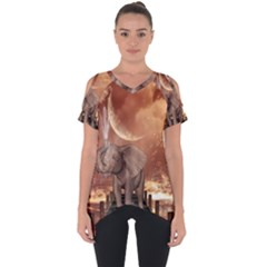 Cute Baby Elephant On A Jetty Cut Out Side Drop Tee by FantasyWorld7