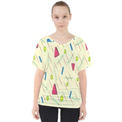 Background  With Lines Triangles V Neck Dolman Drape Top by Mariart