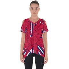 Alternatively Mega British America Red Dragon Cut Out Side Drop Tee
