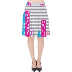 Building Polka City Rainbow Velvet High Waist Skirt by Mariart