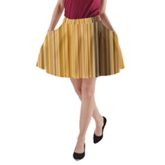 Brown Verticals Lines Stripes Colorful A Line Pocket Skirt by Mariart