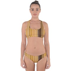 Brown Verticals Lines Stripes Colorful Cross Back Hipster Bikini Set