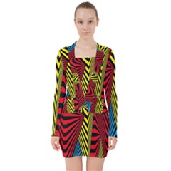 Door Pattern Line Abstract Illustration Waves Wave Chevron Red Blue Yellow Black V Neck Bodycon Long Sleeve Dress