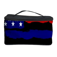 Flag American Line Star Red Blue White Black Beauty Cosmetic Storage Case by Mariart