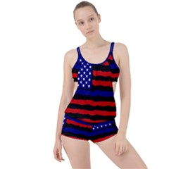 Flag American Line Star Red Blue White Black Beauty Boyleg Tankini Set