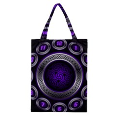 Digital Celtic Clock Template Time Number Purple Classic Tote Bag by Mariart