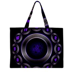 Digital Celtic Clock Template Time Number Purple Zipper Mini Tote Bag by Mariart