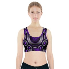 Digital Celtic Clock Template Time Number Purple Sports Bra With Pocket