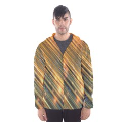 Golden Blue Lines Sparkling Wild Animation Background Space Hooded Wind Breaker (men) by Mariart
