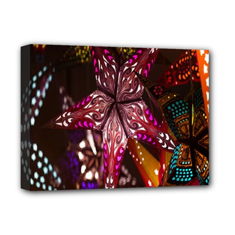 Hanging Paper Star Lights Deluxe Canvas 16  X 12   by Mariart