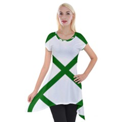 Lissajous Small Green Line Short Sleeve Side Drop Tunic by Mariart