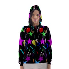 Party Pattern Star Balloon Candle Happy Hooded Wind Breaker (women) by Mariart