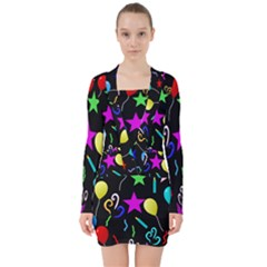 Party Pattern Star Balloon Candle Happy V Neck Bodycon Long Sleeve Dress