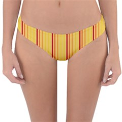 Red Orange Lines Back Yellow Reversible Hipster Bikini Bottoms by Mariart
