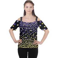Space Star Light Gold Blue Beauty Cutout Shoulder Tee by Mariart
