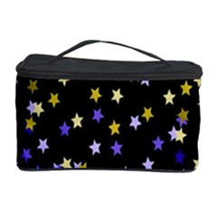 Space Star Light Gold Blue Beauty Black Cosmetic Storage Case by Mariart