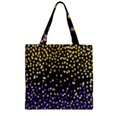 Space Star Light Gold Blue Beauty Black Zipper Grocery Tote Bag by Mariart
