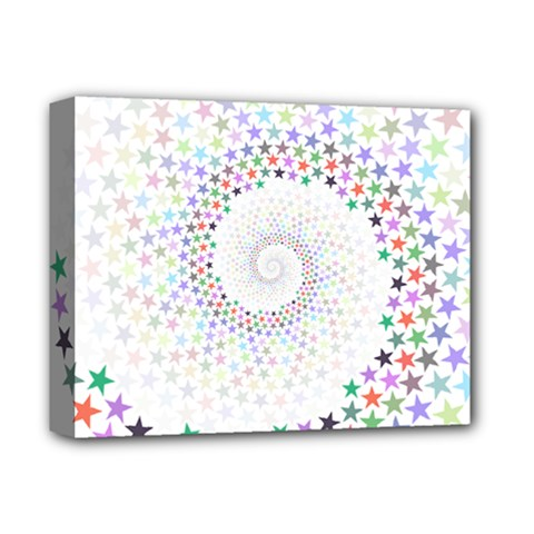 Prismatic Stars Whirlpool Circlr Rainbow Deluxe Canvas 14  X 11  by Mariart