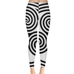 Triple Spiral Triskelion Black Leggings  by Mariart