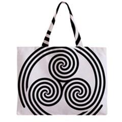 Triple Spiral Triskelion Black Zipper Mini Tote Bag by Mariart