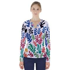 The Wreath Matisse Beauty Rainbow Color Sea Beach V Neck Long Sleeve Top