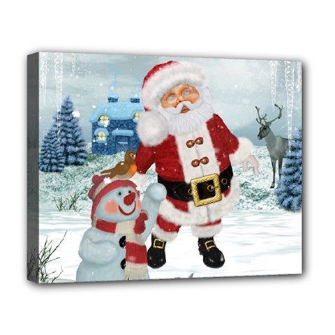 Funny Santa Claus With Snowman Deluxe Canvas 20  X 16   by FantasyWorld7