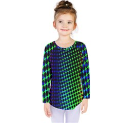 Digitally Created Halftone Dots Abstract Background Design Kids  Long Sleeve Tee by Nexatart