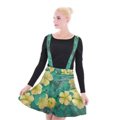Yellow Flowers At Nature Suspender Skater Skirt by dflcprints