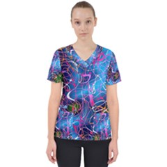 Background Chaos Mess Colorful Scrub Top