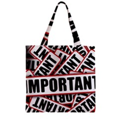 Important Stamp Imprint Zipper Grocery Tote Bag by Nexatart