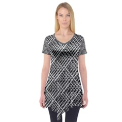 Grid Wire Mesh Stainless Rods Short Sleeve Tunic  by Nexatart