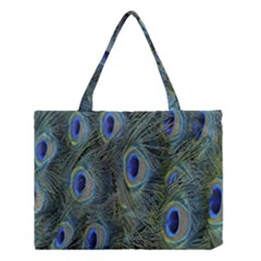 Peacock Feathers Blue Bird Nature Medium Tote Bag by Nexatart