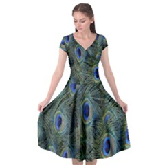 Peacock Feathers Blue Bird Nature Cap Sleeve Wrap Front Dress by Nexatart
