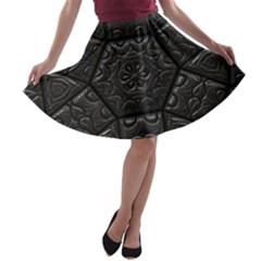 Tile Emboss Luxury Artwork Depth A Line Skater Skirt by Nexatart