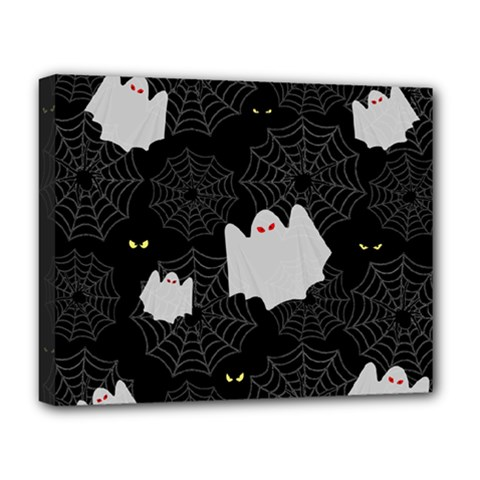 Spider Web And Ghosts Pattern Deluxe Canvas 20  X 16   by Valentinaart