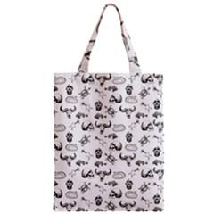 Skeleton Pattern Zipper Classic Tote Bag by Valentinaart