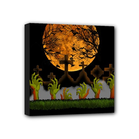Halloween Zombie Hands Mini Canvas 4  X 4  by Valentinaart