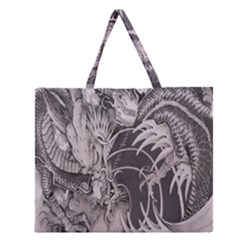 Chinese Dragon Tattoo Zipper Large Tote Bag by Onesevenart