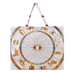 Zodiac  Institute Of Vedic Astrology Zipper Large Tote Bag by Onesevenart