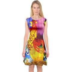 Chinese Zodiac Signs Capsleeve Midi Dress by Onesevenart